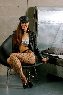 Marusya, leather, fishnet, heels: elegance